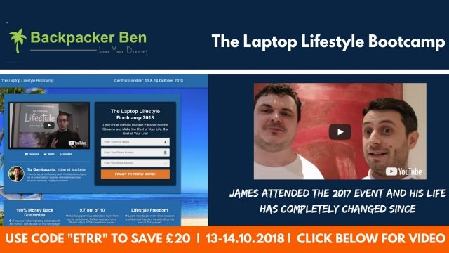 The Laptop Lifestyle Bootcamp  This event is the one event that you need to attend in 2018, especially if you are planning on making 2019 your year! See full event details and 100% money back guarantee offer at: http://www.laptoplifestylebootcamp.com